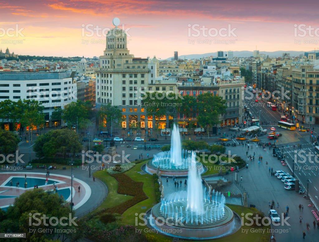 Square of Catalonia stock photo