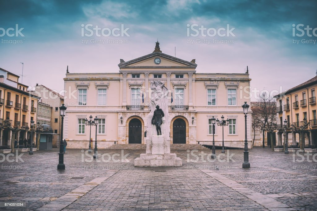 Square of city hall Palencia, Castilla and Leon, Spain stock photo