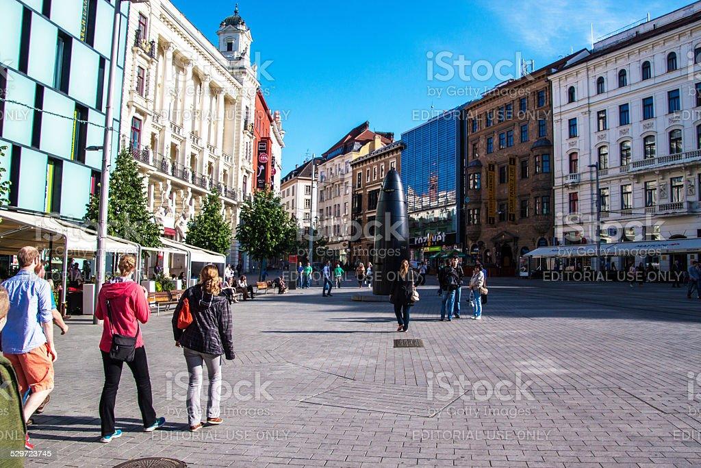 Square of Freedom (namesti Svobody) in Brno stock photo