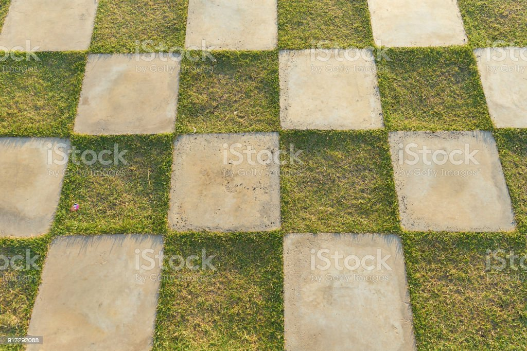 A Square Of Green Grass And White Concrete Patio Stones Square In Outdoor  Decoration, Grass