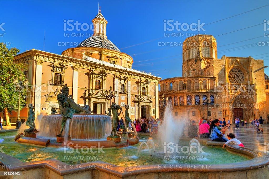Square of Saint Mary and fountain Rio Turia in Valencia stock photo