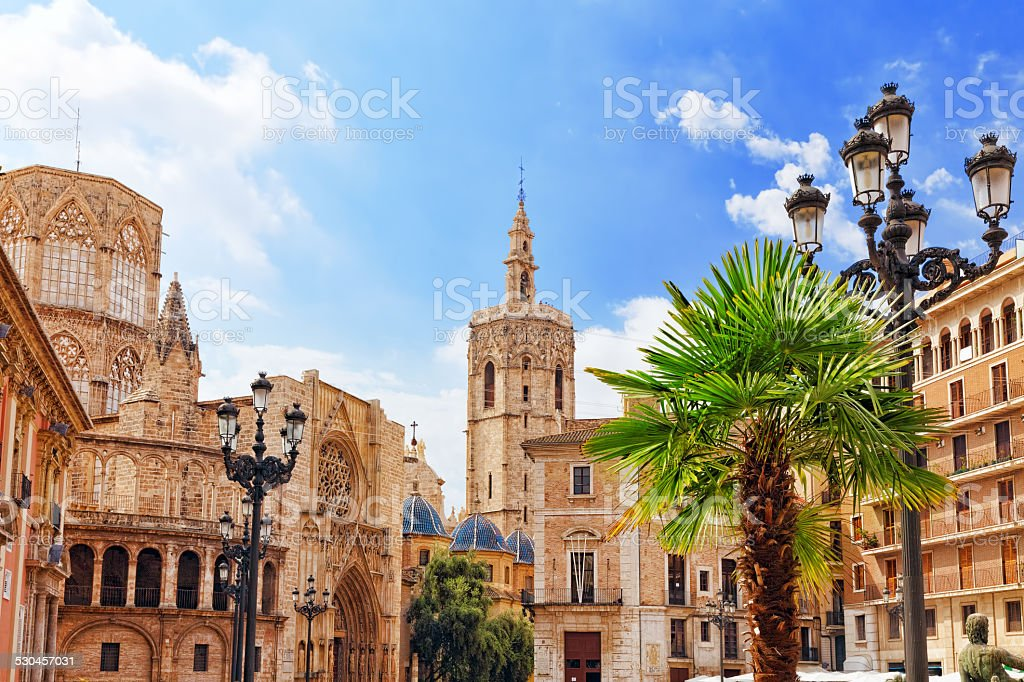Square of Saint Mary's and Valencia  Cathedral stock photo