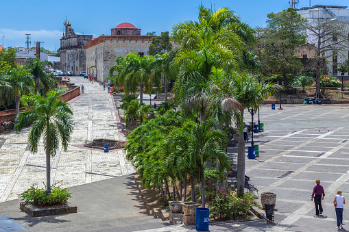 Santo Domingo: Square of Spain and Calle Las Damas, the first street in city and in America, built in 1502. Part of the Ciudad Colonial UNESCO World Heritage Site.