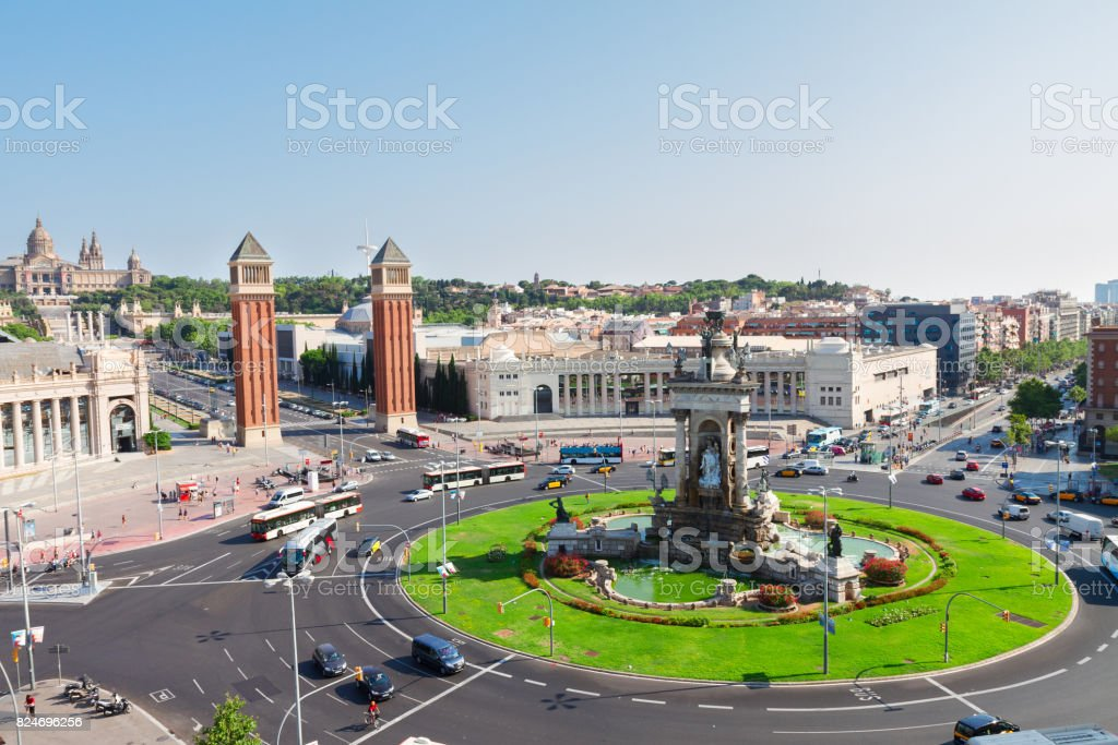 Square of Spain, Barcelona stock photo