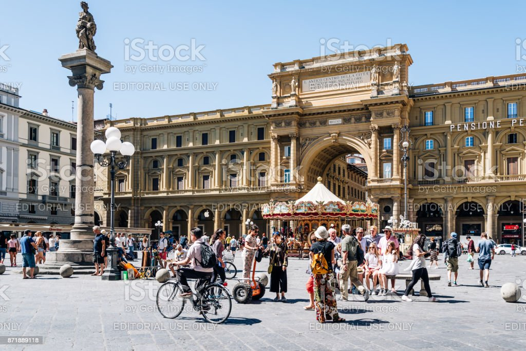 Square of the Republic in Florence stock photo