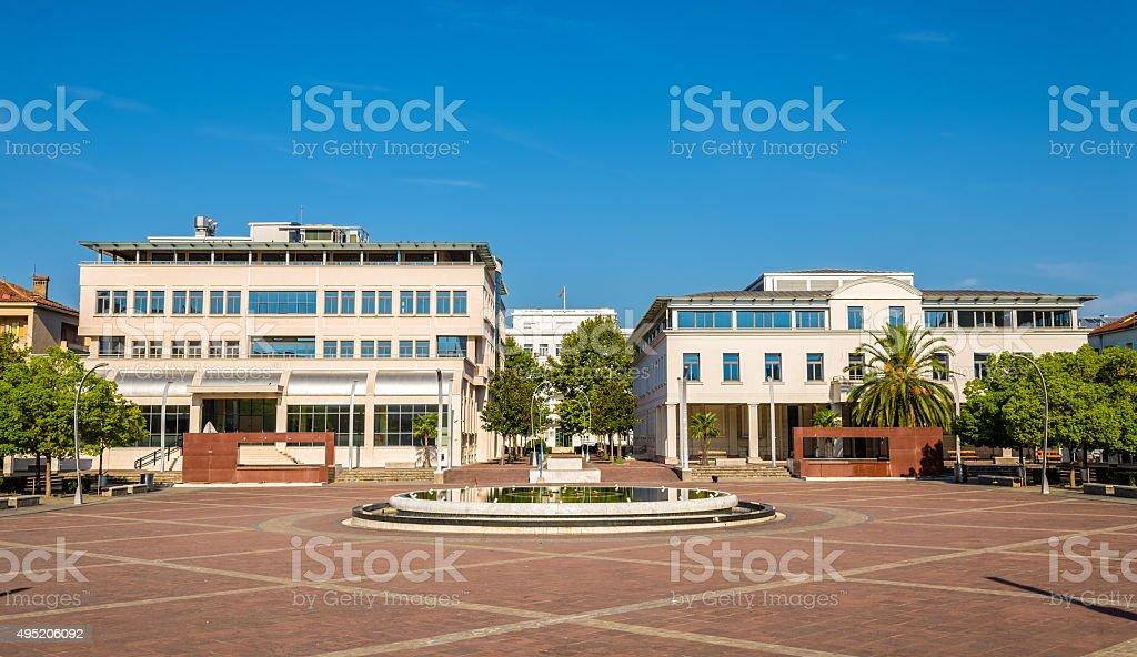 Square of the Republic in Podgorica - Montenegro stock photo