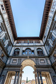 Sightseeing close to the main entrance of the Galleria degli Uffizi, Florence, Italy