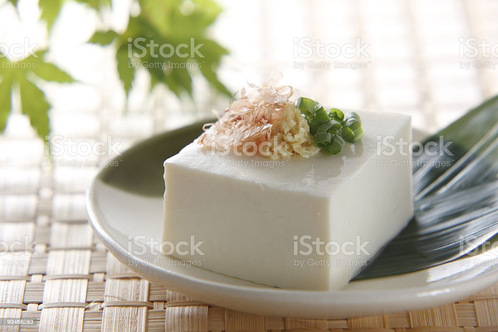 A square of tofu with toppings in a dish royalty-free stock photo