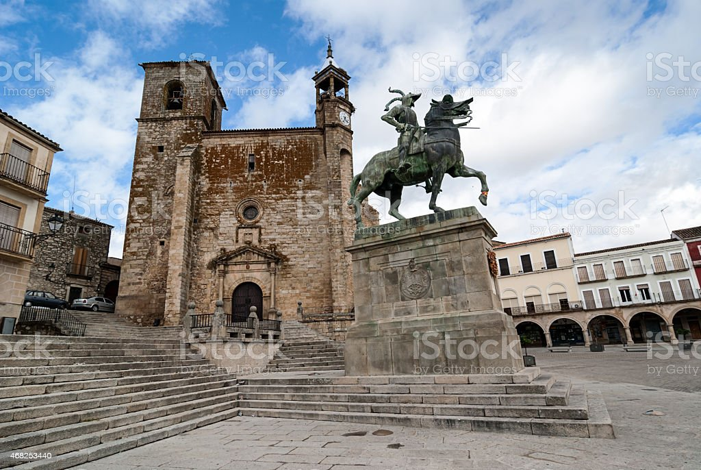 Square of Trujillo, Unesco site, Spain stock photo