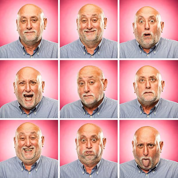 square alter mann emotion ausdrucksformen satz rosa hintergrund - alte serien stock-fotos und bilder