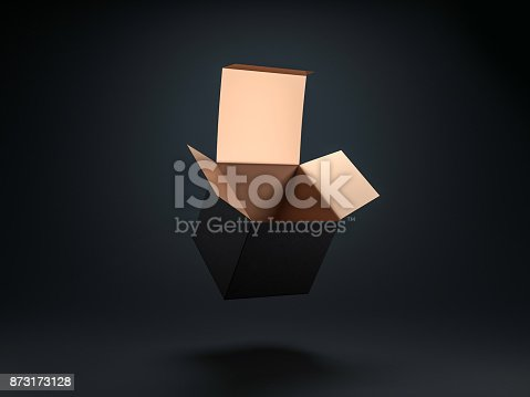 istock Square opened Black box with gold coating inside 873173128