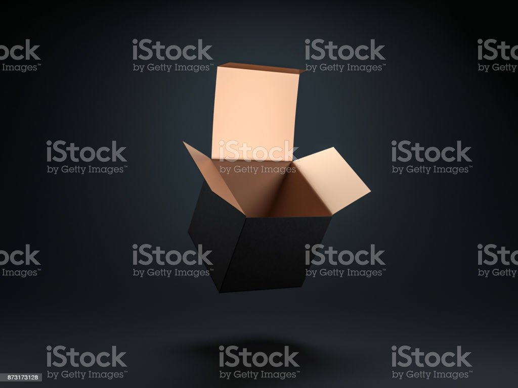 Square opened Black box with gold coating inside stock photo