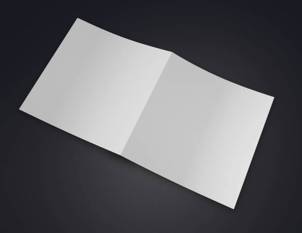 Square opened brochure blank cover. stock photo