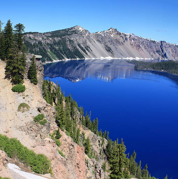 Square Pamorama Crater Lake, OR stock photo