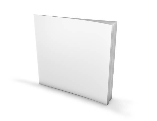Square paperback, brochure with blank cover. stock photo