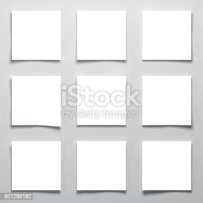 istock Square Papers On The Desk 3d Rendering 921293182