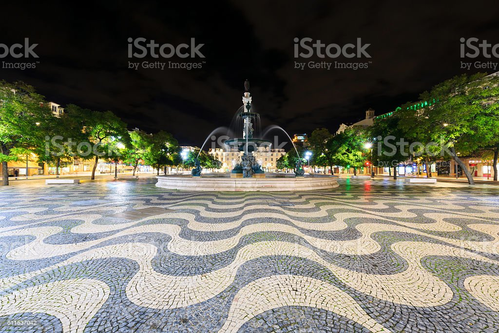 Square Pedro IV (Rossio) in Lisbon at night, Portugal stock photo