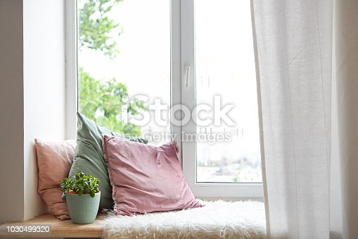 Square pillows, plaid and plant at the window. Reading corner