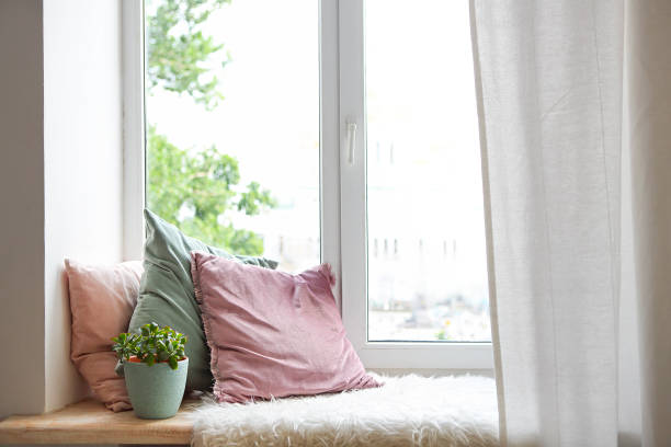 Square pillows, plaid and plant at the window stock photo