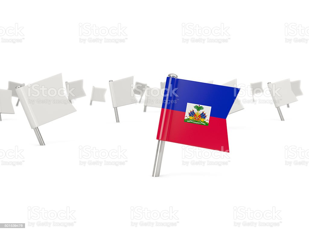 Square pin with flag of haiti stock photo