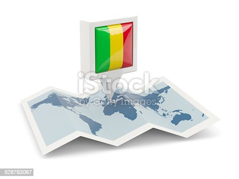 istock Square pin with flag of mali on the map 528763067
