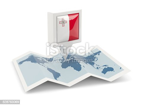 istock Square pin with flag of malta on the map 528763069