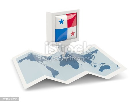 istock Square pin with flag of panama on the map 528636229