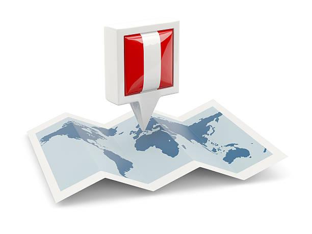Contacto cuadrado con bandera de Perú en el mapa - foto de stock