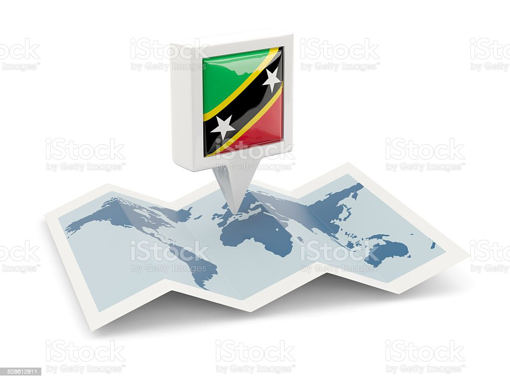 Square pin with flag of saint kitts and nevis stock photo