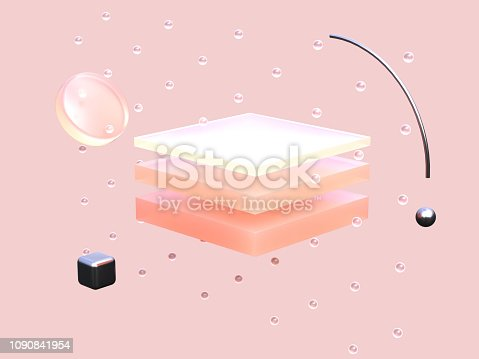 square pink shape abstract 3d rendering