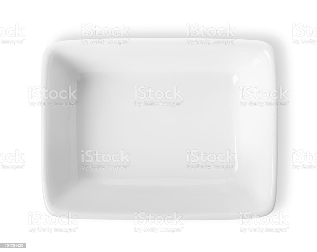Square plate isolated stock photo