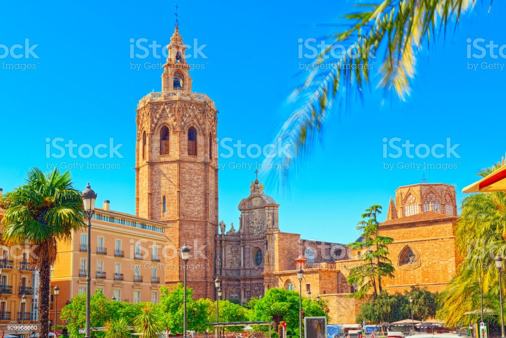 Square, Plaza of the Queen and  Crafts Market before the Seville Cathedral. Spain. stock photo