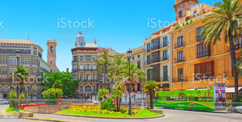 Square, Plaza of the Queen  (Placa de la Reina) in historical part of the city. Spain. stock photo