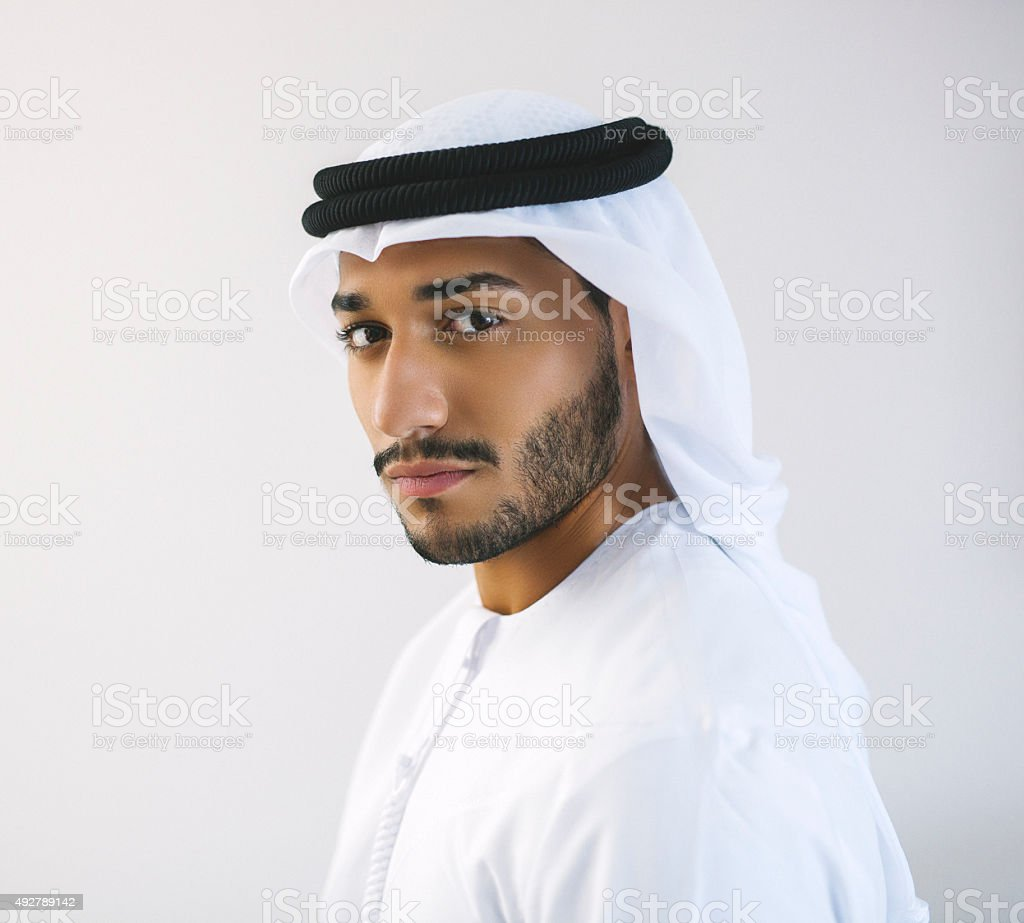 Square Portrait of Arab Man in Traditional Clothing stock photo