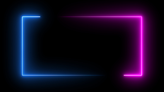 Square rectangle picture frame with two tone neon color motion graphic on isolated black background. Blue and pink light moving for overlay element. 3D illustration rendering. Empty copy space middle