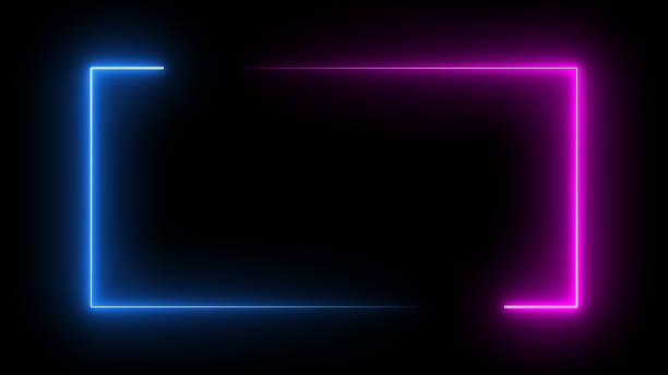 kwadratowa prostokątna ramka obrazu z dwukolorową neonową grafiką ruchu kolorów na odizolowanym czarnym tle. niebieskie i różowe światło poruszające się na element nakładki. renderowanie ilustracji 3d. puste miejsce na kopiowanie w środku - neon zdjęcia i obrazy z banku zdjęć