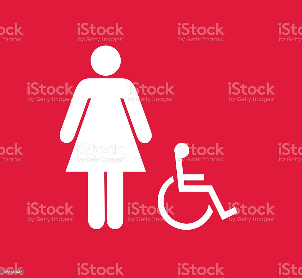 Square red and white female and disabled person restroom sign royalty-free stock photo