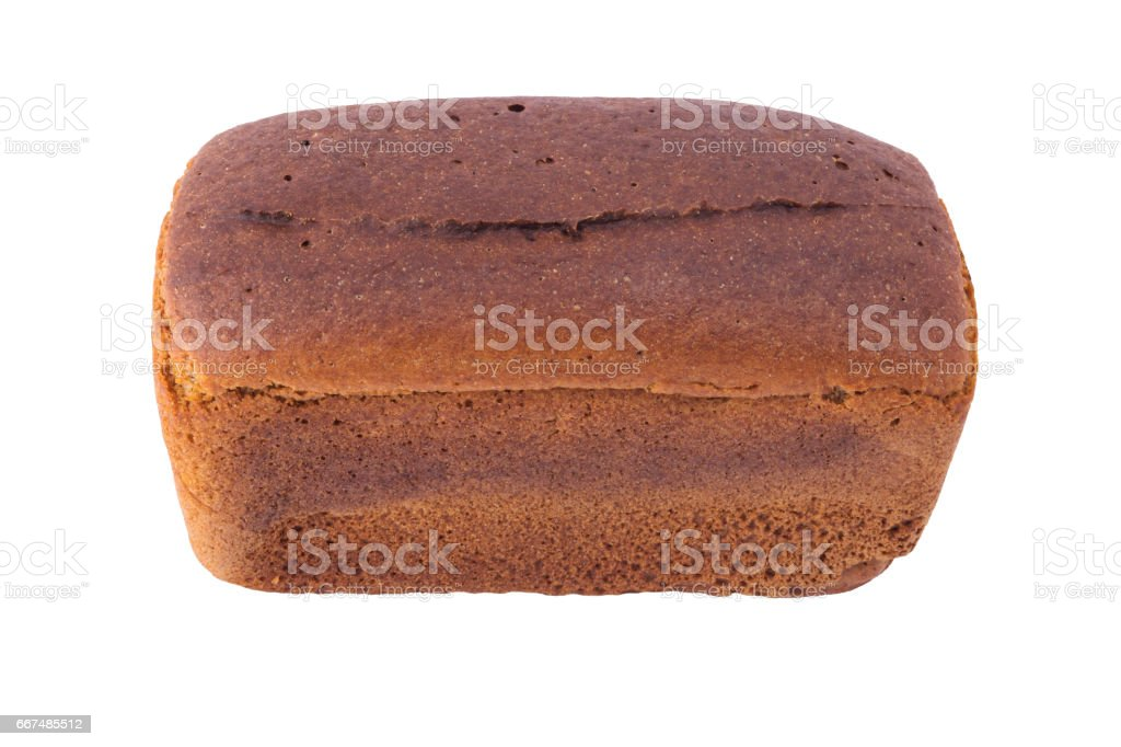 Square rye bread with a black top on a white background isolated stock photo