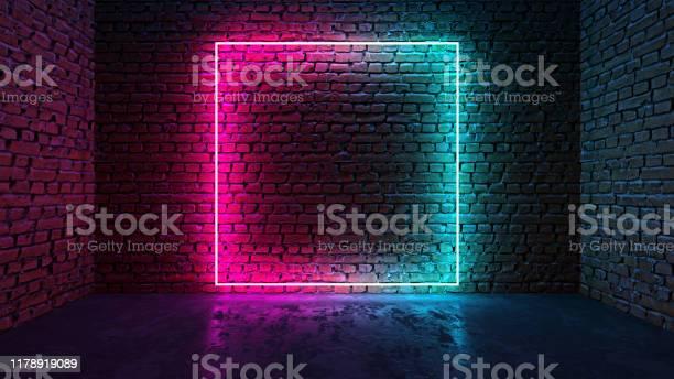 Square shaped glowing neon frame on brick wall in dark room picture id1178919089?b=1&k=6&m=1178919089&s=612x612&h=nqzcwvt ti dn1r9nfobju0zmoboio6zm3qlysqmx w=