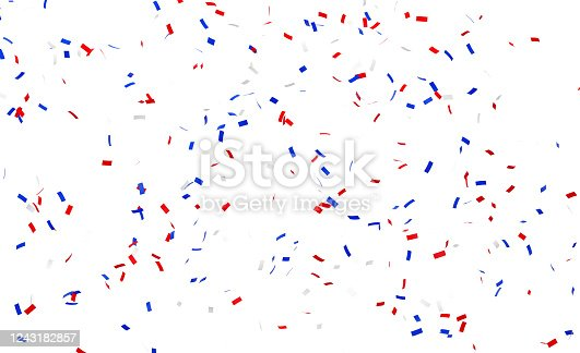 Square shaped paper confetti in USA flag colors falling over blue background. Great use for party and us elections concepts.