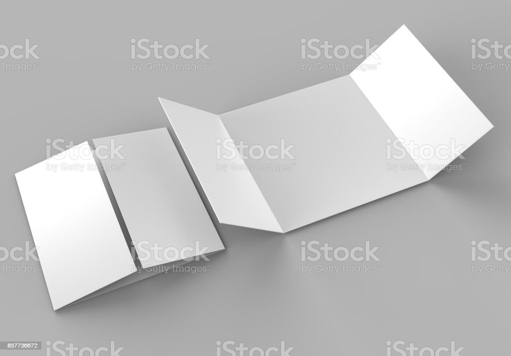 square single open gate fold brochure 3 panel and six pages leaflet