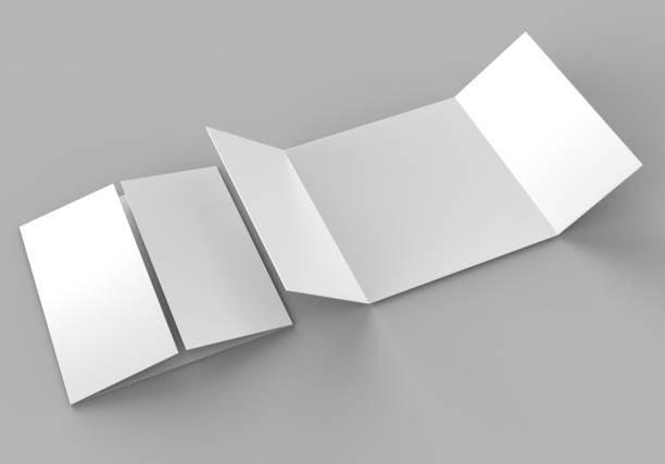 torget öppet utfärda utegångsförbud för enda broschyr, 3 panel och sex sidor bipacksedel. blank vit 3d render illustration. - grind bildbanksfoton och bilder