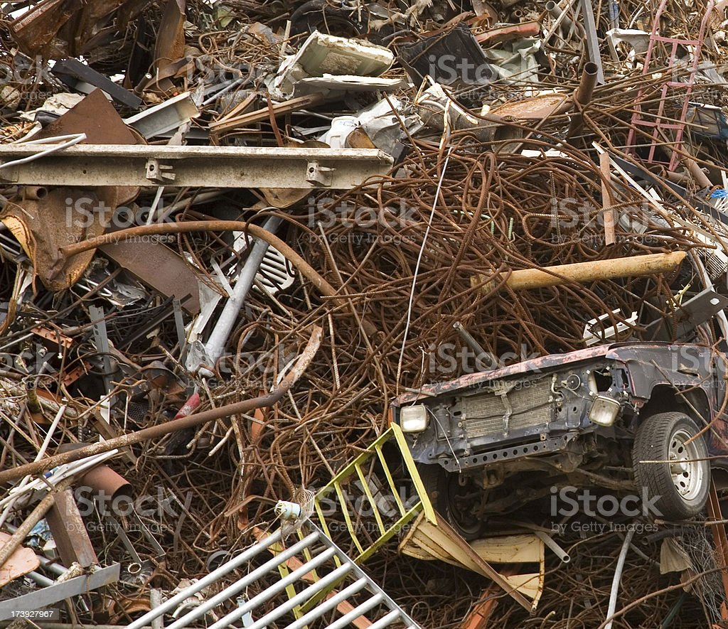 Square Sized Recycled Metal Pile Background royalty-free stock photo
