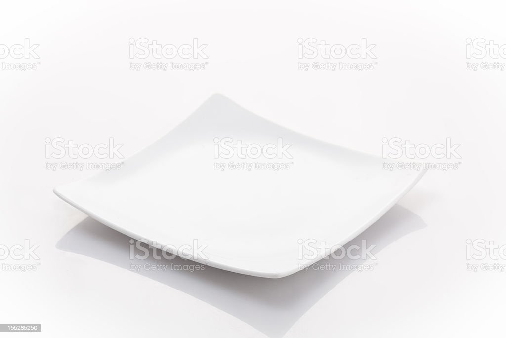 square small plate isolated on white stock photo