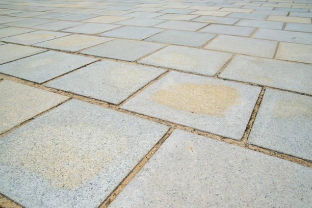 Square speckled granite tiles, Bangkok, Thailand stock photo