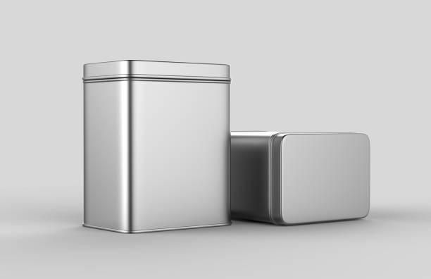 quadratische edelstahl oder zinn glänzend silberne metallbox container isoliert auf weißem hintergrund für das mock-up und packaging design. 3d render-illustration. - blech stock-fotos und bilder