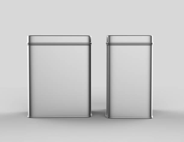 quadratische edelstahl oder zinn glänzend silberne metallbox container isoliert auf weißem hintergrund für das mock-up und packaging design. 3d render-illustration. - aluminiumkiste stock-fotos und bilder