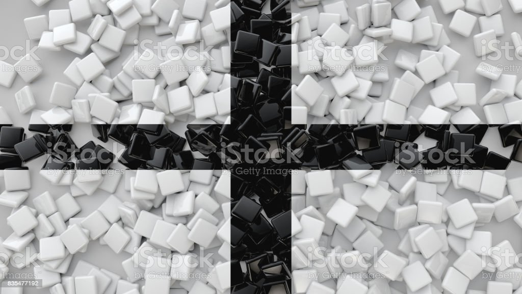 3D Square Tiles Scattered On The Floor, 3D Rendering Background stock photo