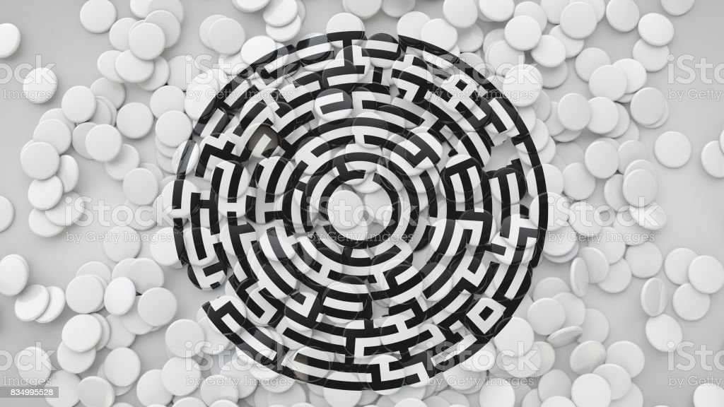 3D Square Tiles Scattered On The Floor With Labyrinth Symbol, 3D Rendering Background stock photo