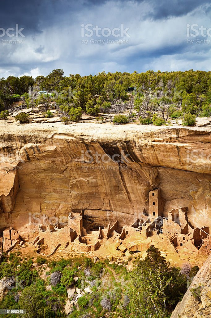 Square Tower House, Mesa Verde, Ancient Pueblo Cliff Dwelling, Colorado stock photo